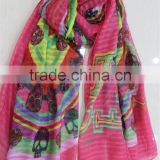 In Stock Polyester Scarf with Skull Pattern Print