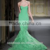 2014 New Style Strapless Mermaid Gown with Beading and Feather on the Skirt Emerald Green Evening Dress (EVGH-1011)
