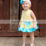 Yellow stripe fold diaper pants blue lace dress suit girl dress baby clothes clothing baby dress kid clothes
