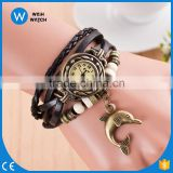 alibaba Fashion Leather Quartz Watches Romantic Dolphin Pendant Women Vintage bracelet Watch/vintage watch VW021