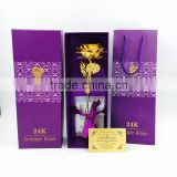 Factory wholesale 25cm 24K Gold Dipped Rose Flower with Gift box and certificates in high quality