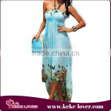 fashion designer 2015 bohemian romantic beach wear lady sexy floral printed swimming clothes for summer beach dress