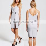 Clothes factory new design spaghetti strap grey wrap lapel neckline latest office dress 2016 for ladies