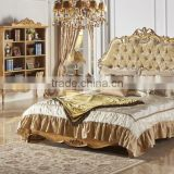 Antique Classic Upholstery Bed Set, Luxury Button Tufted Queen Bed With Gold Painting, Wood Carving Bedroom Furniture Set