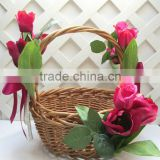 Rustic handweave wicker basket for flower , wedding , garden decoration , gift , field with handle