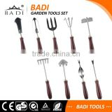 9 pieces high grade wooden handle garden hand tools set with 9 tools