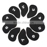 Black 10pcs/set Golf Club Iron Putter Head Cover HeadCovers Protect Set Neoprene