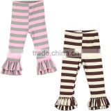Baby Icing Ruffle Pants Custom Cooton Soft Fabric Flouncy Footfalls Stripes Wholesale Ruffle Pants For Girls Toddler