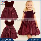 Autumn\Winter Children Frocks Designs Baby Clothes Sweet Deep Velvet Free Prom Party Princess Wedding Dresses