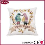 lover bird new design painting natural linen back rest pillow cover