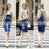 Fashion Style Blue Short Demin Dresses Manufacturer, Cheap Demin Suspender Skirt ,denim skirt