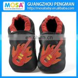 Kid's Toddler Shoes Soft Sole Genuine Leather Black Color With Orange red Guitar Pattern