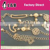 Trendy fashion ladies dress waist chain belt fashion gold waist chain belt