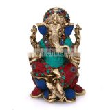 Lord Ganesh Statue Hindu God Elephant Success Idol Brass Turquoise Lotus Ganesha Religious Idol Lord of Success Ganesh Ganesha