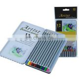 Artist color pencil in flat metal box