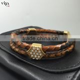 2016 Hot Sale Leather Men Bracelet High Class 316l Stainless Steel Diamond Clasp Bracelet Truth Python Leather Bracelet