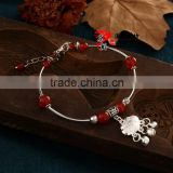 Cheap Personalized Silver Plated Bell Red Jade Beads Anklet