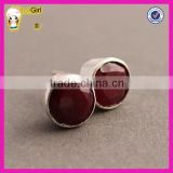 Simple wholesale cheap stud earring classic natural ruby stone earrings