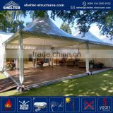 Cheapest price 850g/sqm PVC coated fabric roof cover snowproof sound proof peak gazebo spa canopy tent