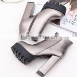 Silver thick high heel fetish blue jeans heel women boots shoes from China