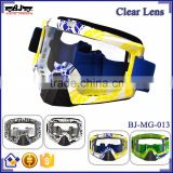 BJ-MG-013 Wholesale Adult Clear Lens Yellow & Blue Frame motorcycle goggles motocross roll off