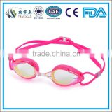 2014 best sell fashionable competitive mirrored swimming goggles , pink swimming goggles , Silicone swimming pool goggles