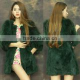 "Newest Unique Emerald Luxury Coats Rabbit Fur with Raccoon Sleeve Women European Style Winter Coats ""11"""