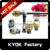 KYOK High quality Metal hollow curtain rod finials , iron curtain rod finails glass wholesale