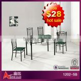 Wholesale cheap rectangular metal leg with black marble wooden top bistro dining table set