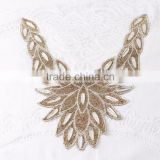 yiwu factory Hotsale rhinestone crystal collar applique trim neckline motif adhesive for cloth