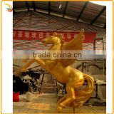Golden Color Life Size Bronze Horse With Wings Sculpture Golden Horse Statue