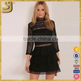Wholesale Black Premium Lace Panel Tiered Mini Dress For women