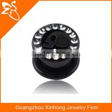 Plated black crystal ear tunnel body piercing jewelry