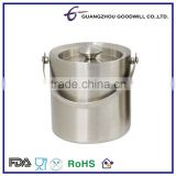 Double wall Stainless Steel plastic ice Bucket with lid and handle