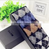 031002-H5 High quality Small diamond thick rabbit wool fabric business tube man socks 2015