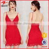 2016 OEM Service Sexy Cotton Tassel Backless Red Crochet Mini Dresses