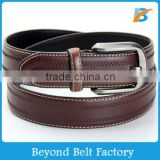 Beyond Men's 35mm Brown Full Grain Genuine Leather Belt with Wave Stitching Decor and Dull Pin Buckle