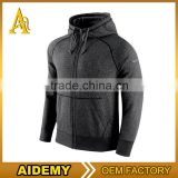 OEM Hot Sale High Quality Pockets Drawstring Zipper Up Cotton Blank Blue Custom Men Fitness Hoodies