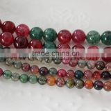 6MM & 10MM Tourmaline Color Agate Onyx Gem Beads Natural Agate Stone Beads Strands DIY Jewelry Findings 15""
