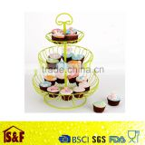 3 layer wire fruit basket candy color cup cake basket rack iron cup cake frame Free
