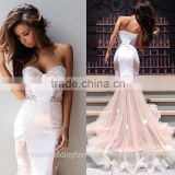 Vestidos Longos Formatura Sexy Sweetheart Applique Abendkleider Long Evening Party Lace White Mermaid Prom Dresses CWFp2332