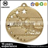 wholesale custom 3d unique stamping imitation gold finish hollow out star swimming lane us medal reward iron brass metal medal
