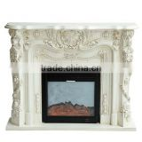 Antique handmade flower carving rococo style indoor wooden fireplace in ivory color - BF07-70341
