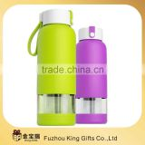 double wall glass water bottle with stainless steel tea infuser