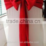 red satin chair sash for party decoration