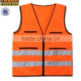 two tone fluo orange high visibility construction vest dual stripe safety vest