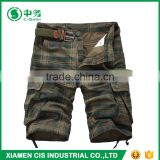 New Style Summer Casual 100% Cotton 6 Pockets Mens Baggy Plaid Cargo Shorts