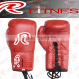 Red leather karate boxing gloves,kicking equipments / Wrist Wrap Boxing Glove/ Sparring Gloves