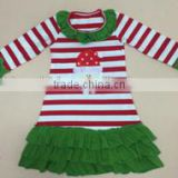 New fashion children frocks designs santa claus striped dress christmas chiffon ruffle dress girls dresses