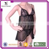 China Supplier Slim Fat Women Black Sexy Sleep Shirts Wear